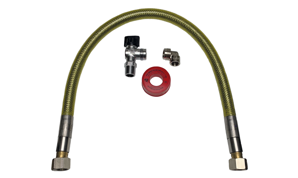 JLF connection set gas hose stainless steel superior 150 cm.