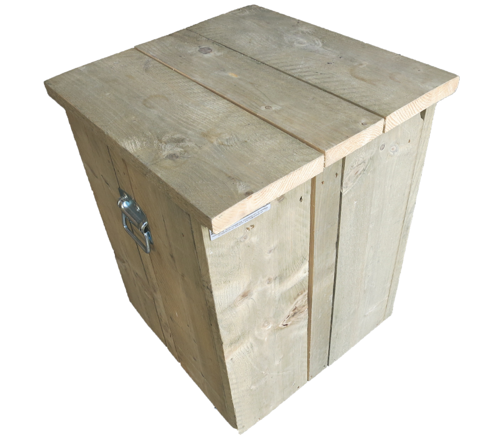 Wooden scaffolding gas bottle cabinet with lid and handles