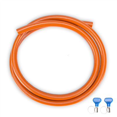 Propane hose set 2 meter, incl. 2x hose clamp
